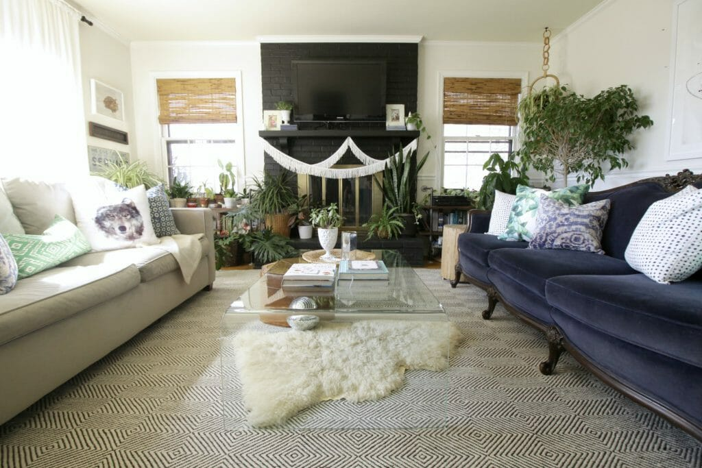 Spring Eclectic Living Room- Blues & Greens