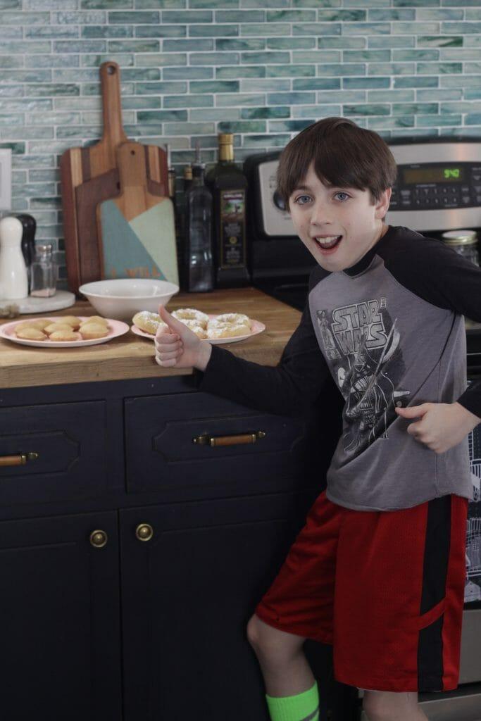 Sawyer with donuts