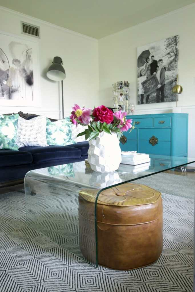 Eclectic Living Room with Peonies
