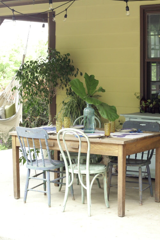 Bohemian porch dining blues greens cassie bustamante summer patio dining area dzzzfo