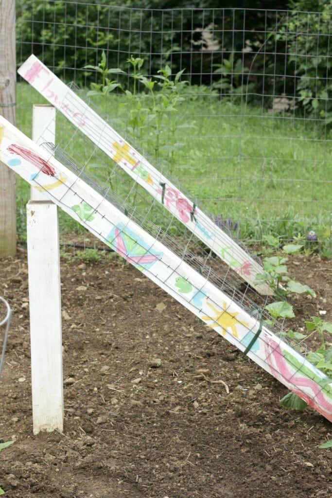 DIY painted cucumber trellis