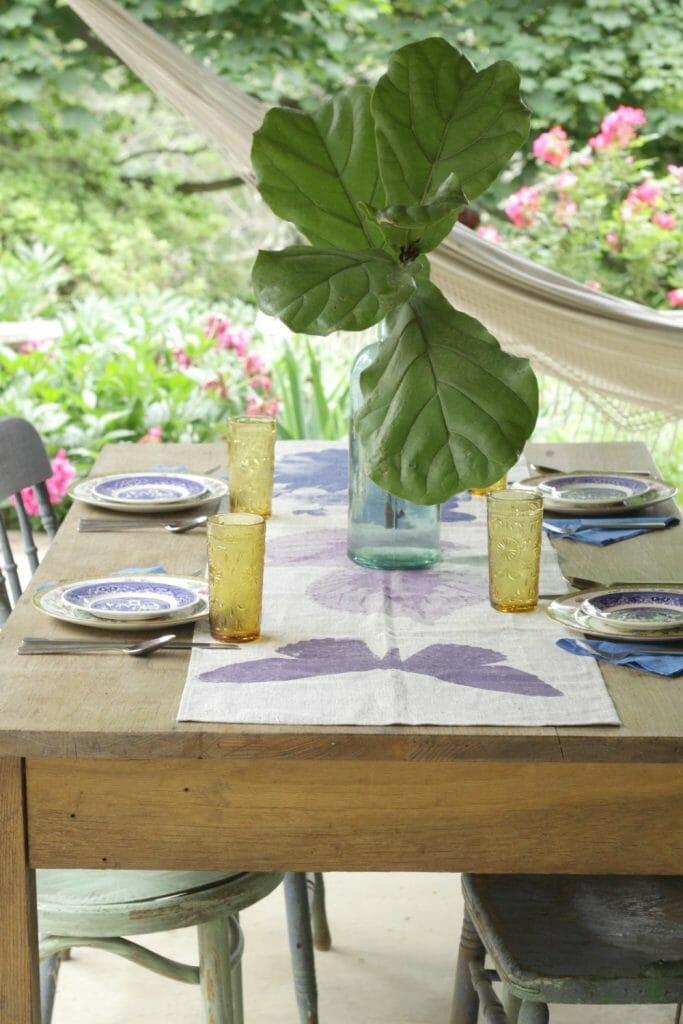 Boho Eclectic Outdoor Dining with Thrifted Dishes