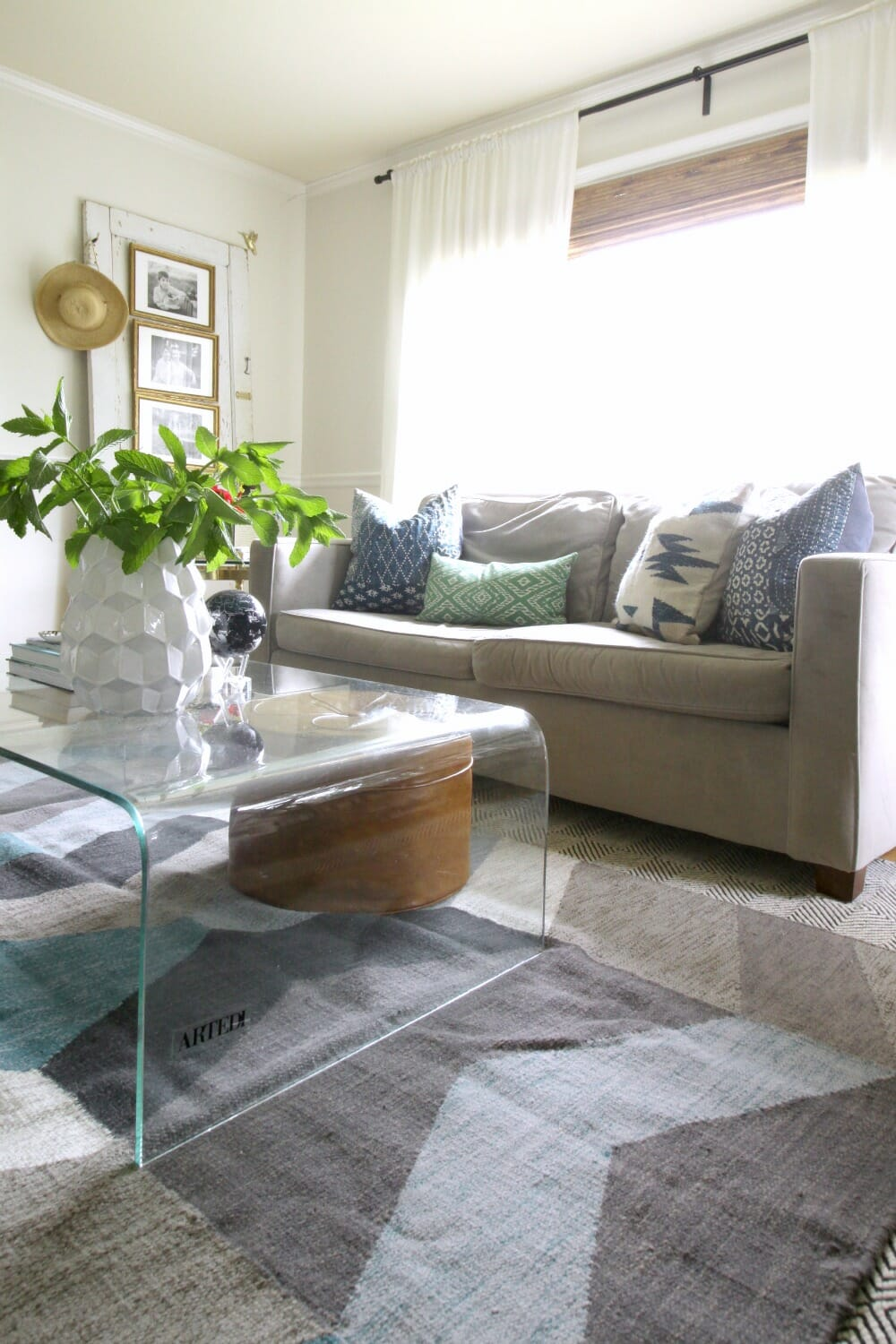 Perfect West Elm Henry in Gray wth Blue Green Pillows