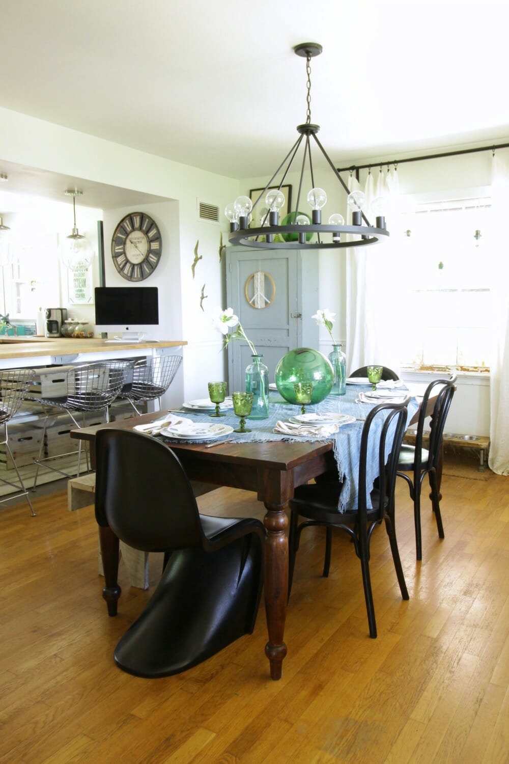 Modern boho eclectic dining room blue green cassie bustamante eclectic modern bohemian dining room in blues and greens dzzzfo