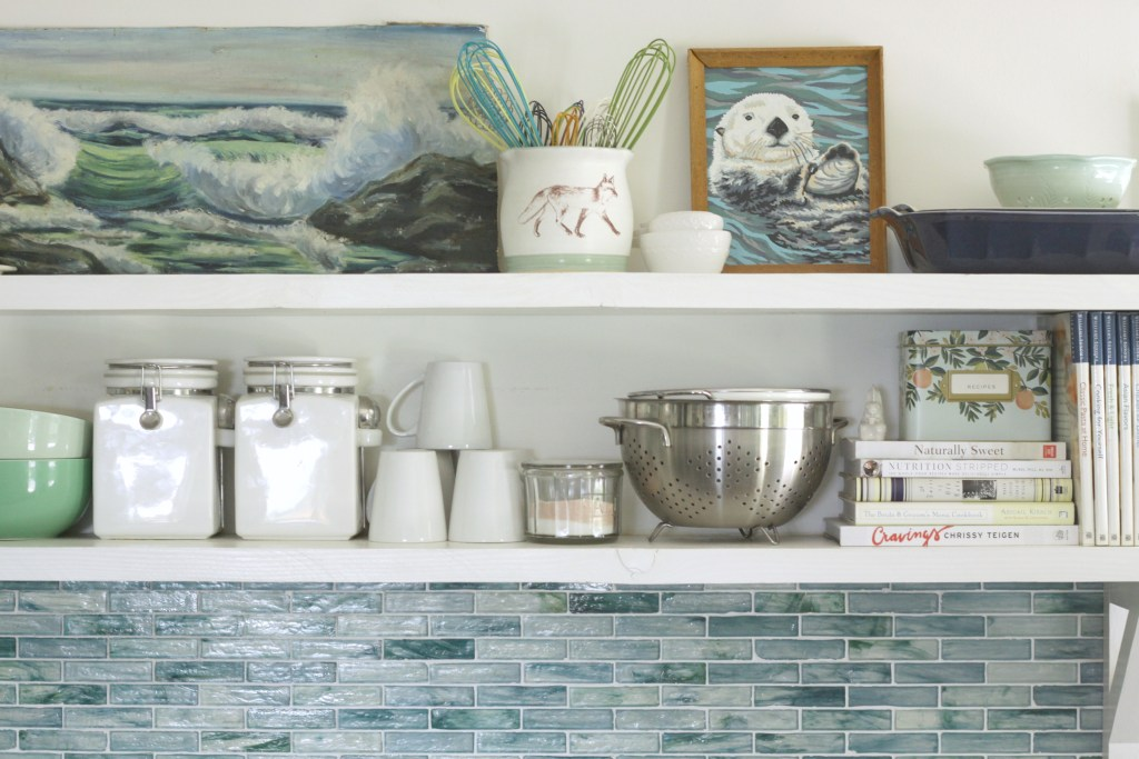 Styled Summer Kitchen Shelves