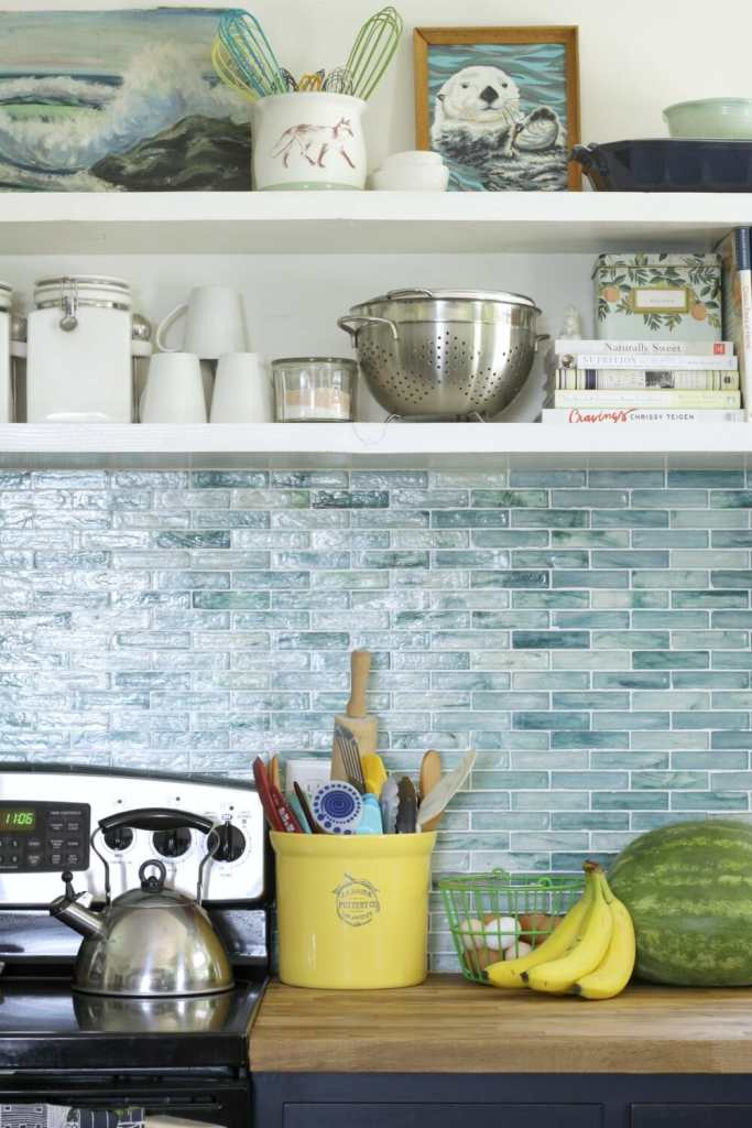 Aqua Summer Kitchen with Open Shelving