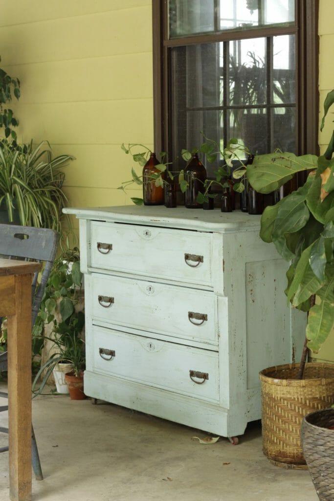 Vintage Blue Dresser on Porch