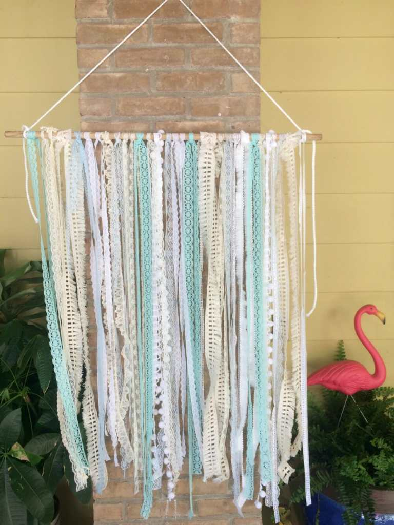 Vintage lace Hanging with Macrame Cord hanger