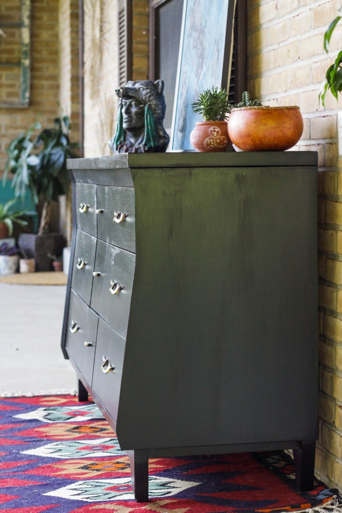 Black Midcentury Modern Dresser with Angled Front