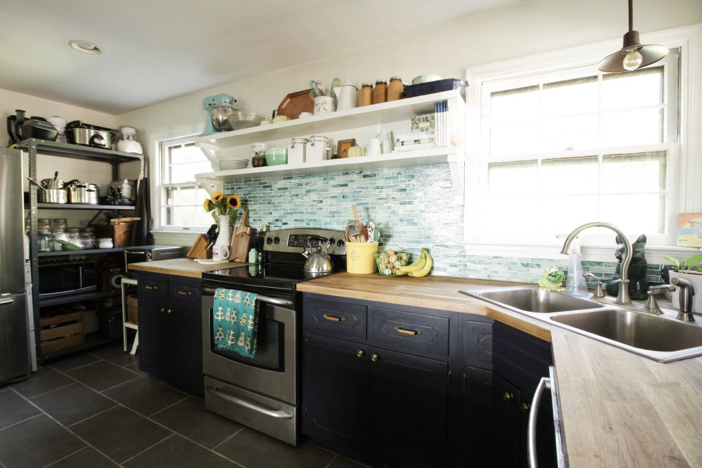 Eclectic Farmhouse Style Blue and White Kiitchen