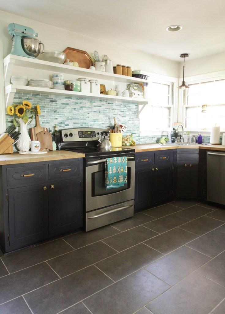 Blue, White, Gray Kitchen