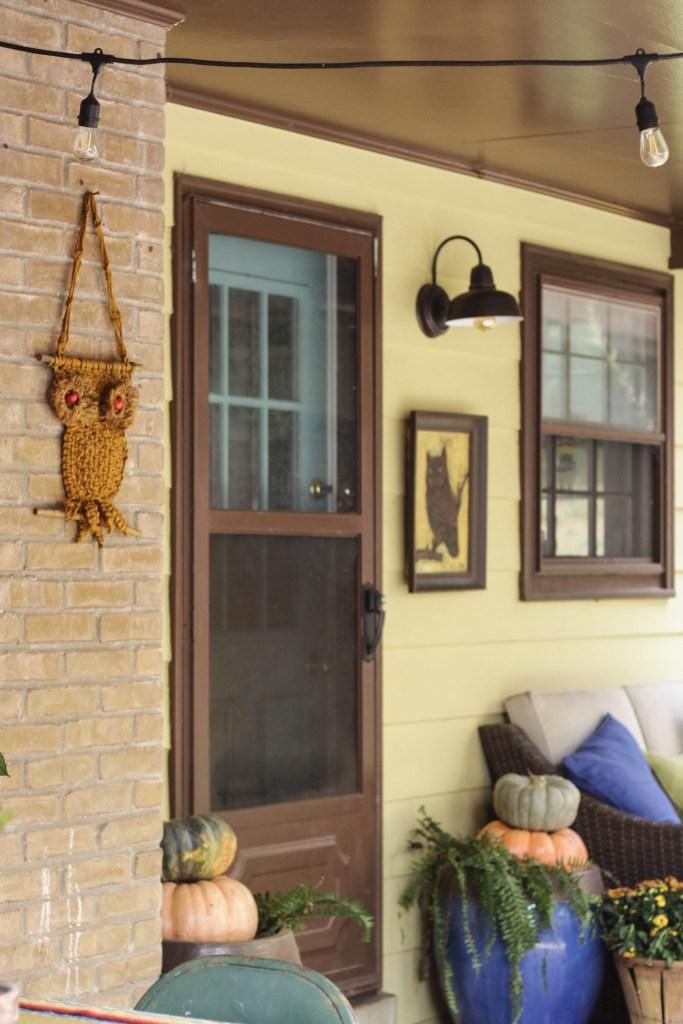 Fall Boho Farmhouse Porch with Owls