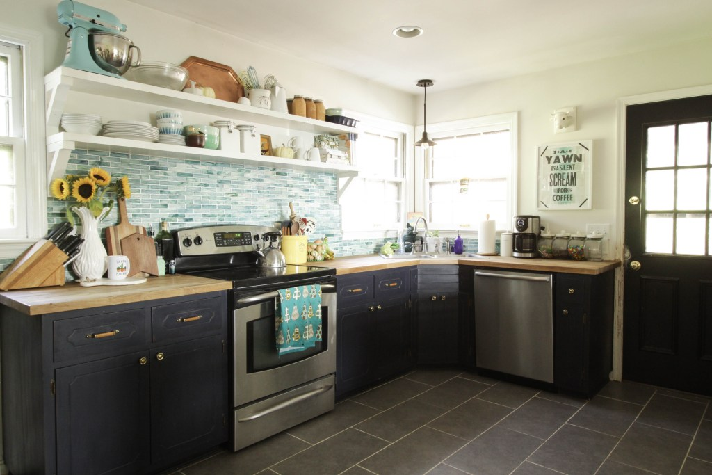 Eclectic Navy and Aqua Farmhouse Kitchen with Open Shelving