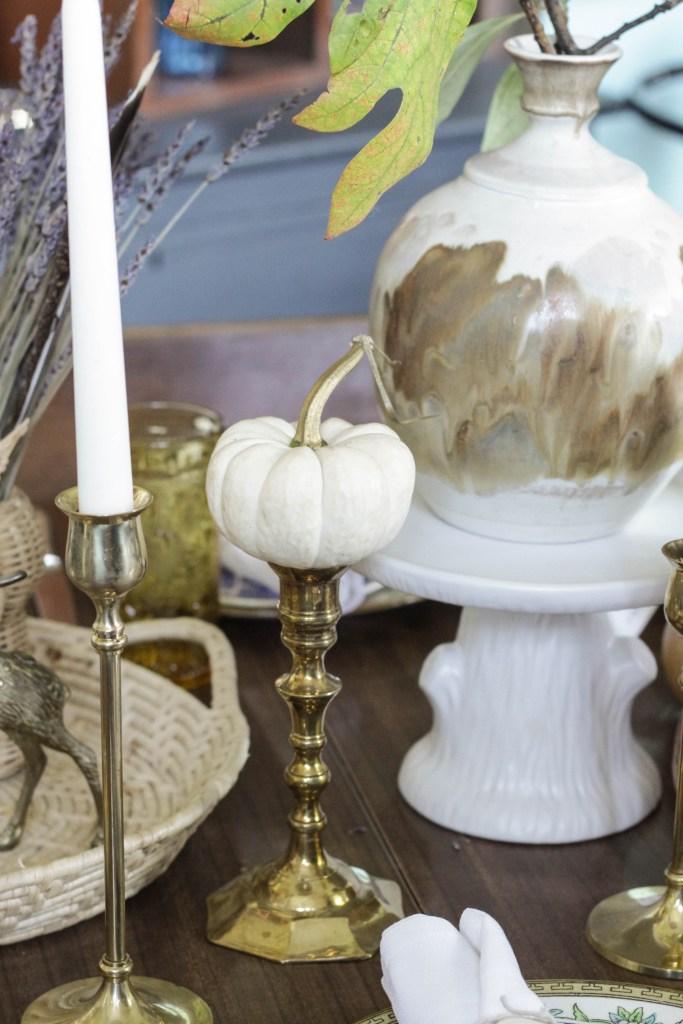 Gilded Stem White Pumpkins