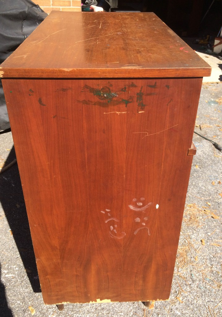 MCM dresser before with smiley faces