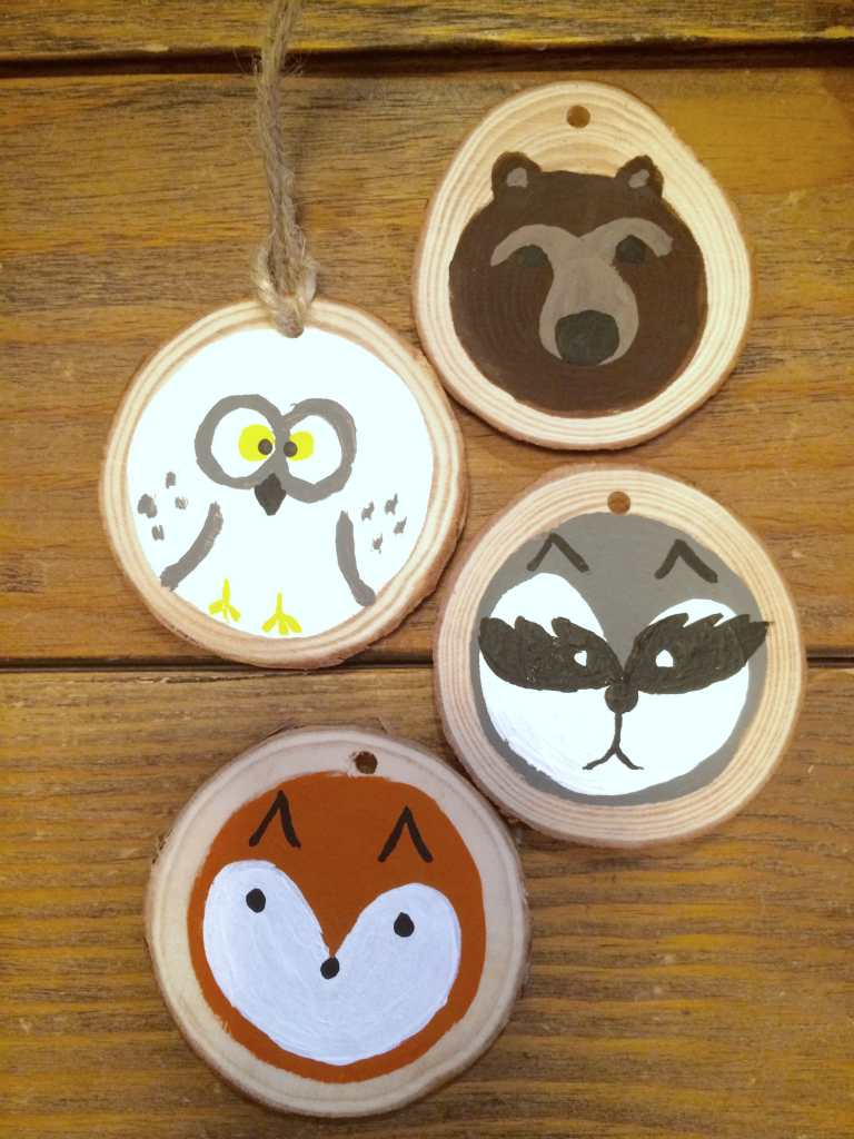 DIY Painted Woodland Animal Face Ornaments