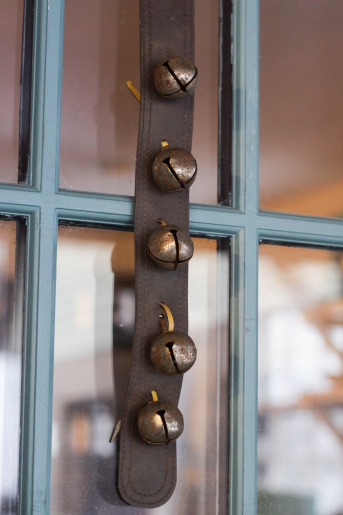 Leather Vintage Jingle Bells as door decor