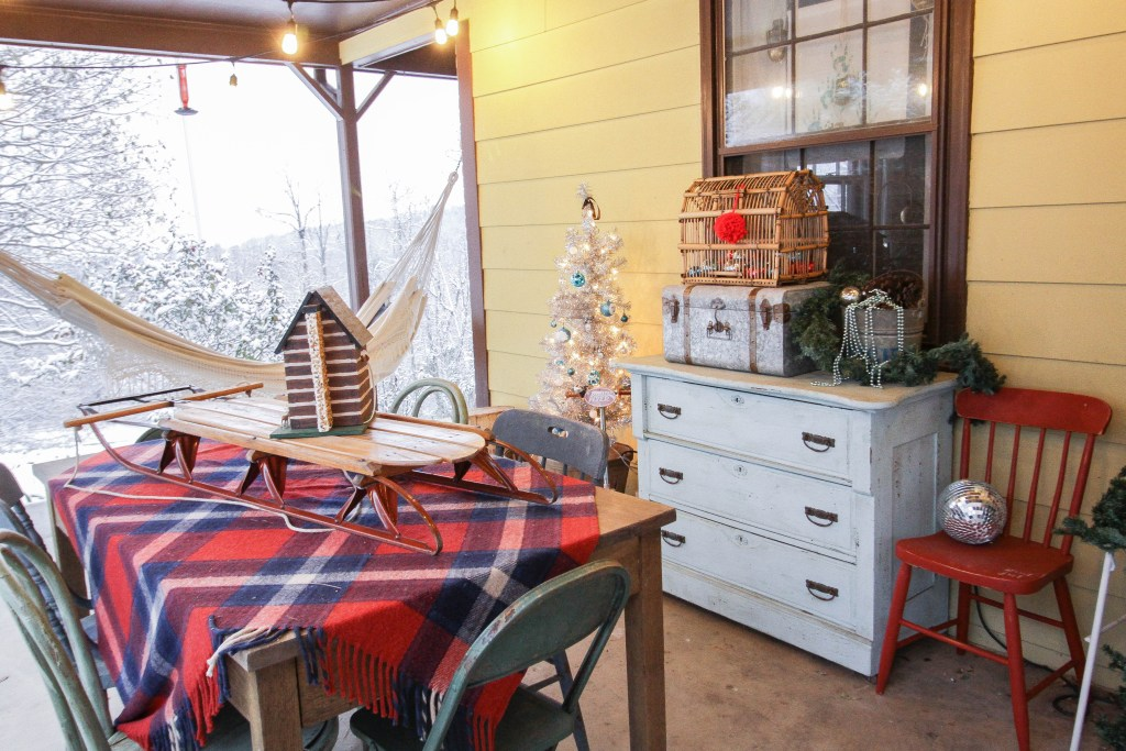 Vintage Farmhouse Style Red & Blue Christmas Porch