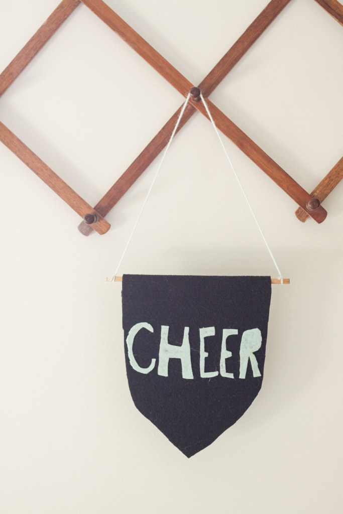 DIY Kid made felt flag- cheer
