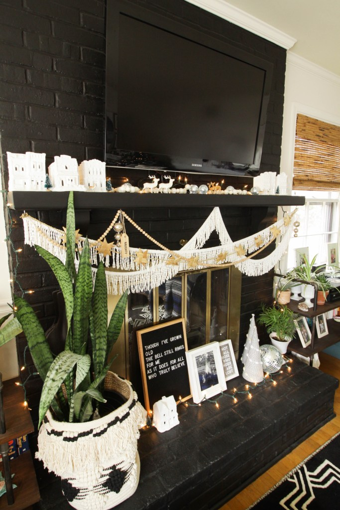 Eclectic Modern Christmas Mantle