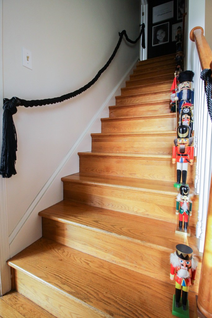 Nutcrackers up the staircase