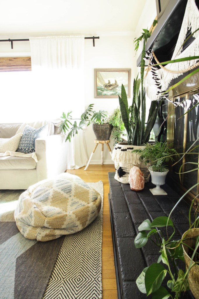 Vintage art, plants, eclectic boho living room