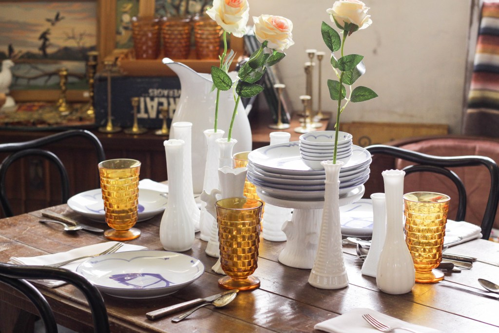 Spring blue white amber tablescape