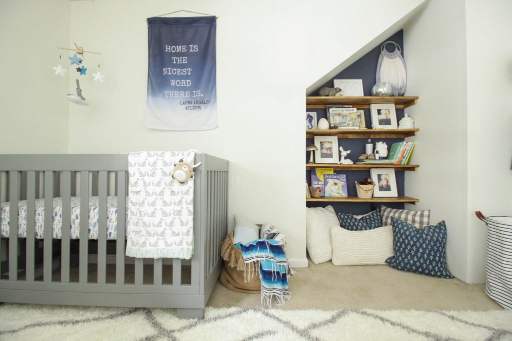 Modern Boho baby Boy Nursery book nook