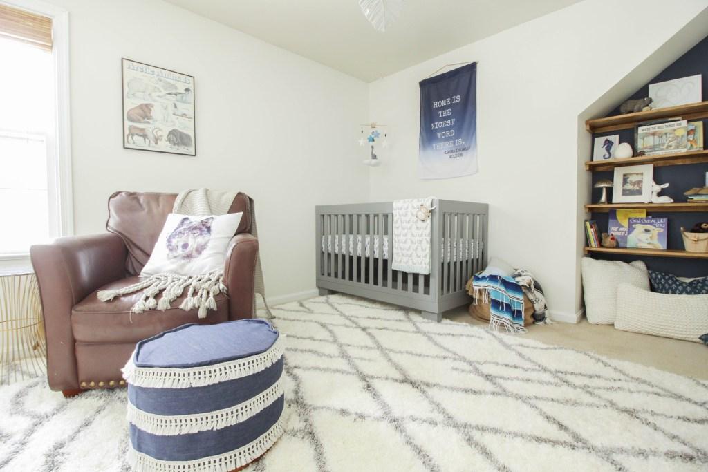 Beautiful White, Gray, Natural Earthy Boys Nursery