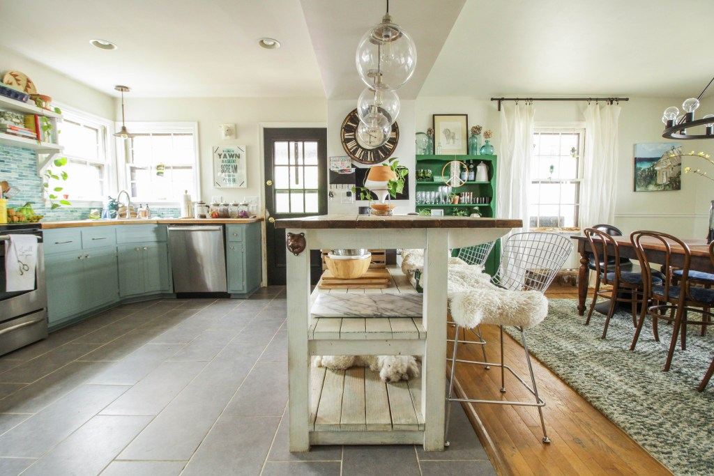 Eclectic Open kitchen and dining in aqua and green