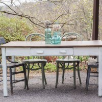 Furniture Makeover: Oak Library Table to Farmhouse Dining Table