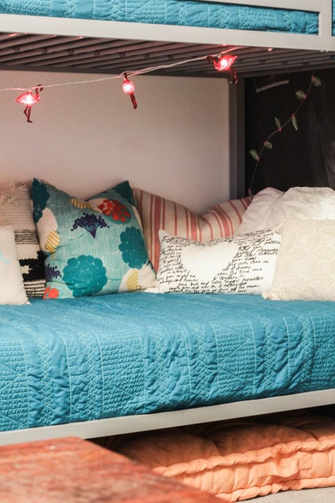 Flamingo lights on kids bunk beds