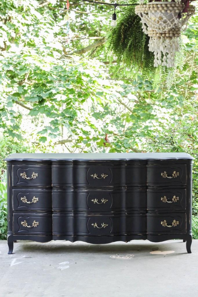 Excellent Furniture Makeover: Glam Black French Triple Dresser - Cassie  TX27