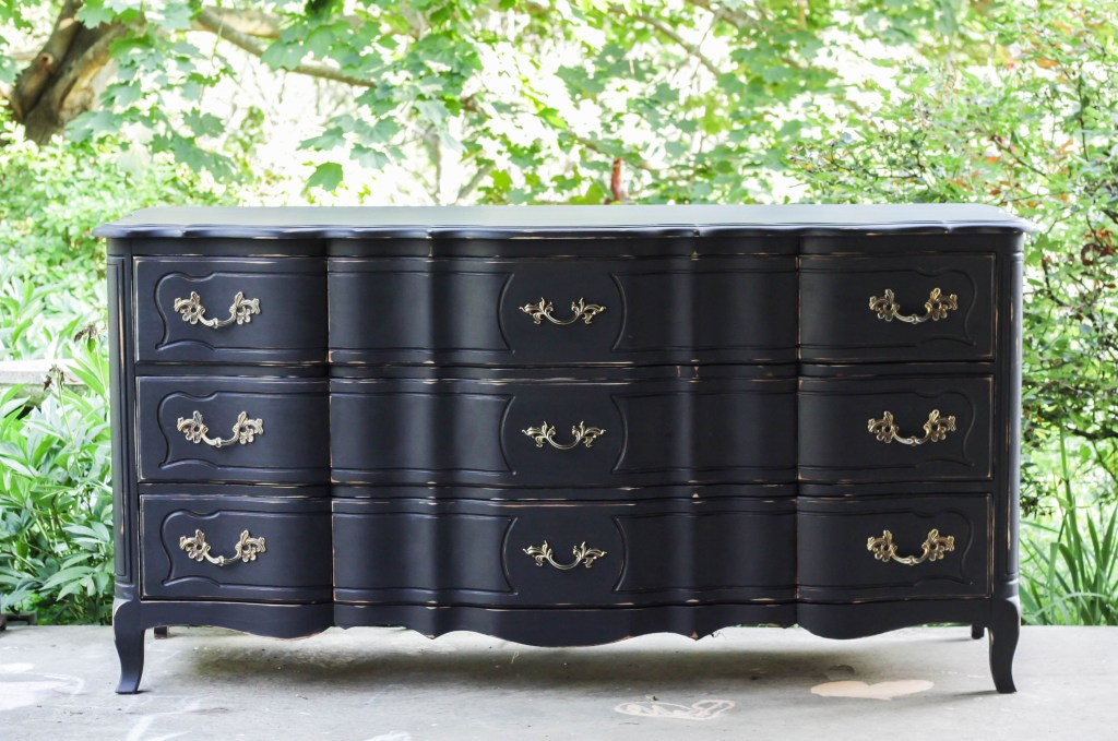 French Triple Dresser Painted Black