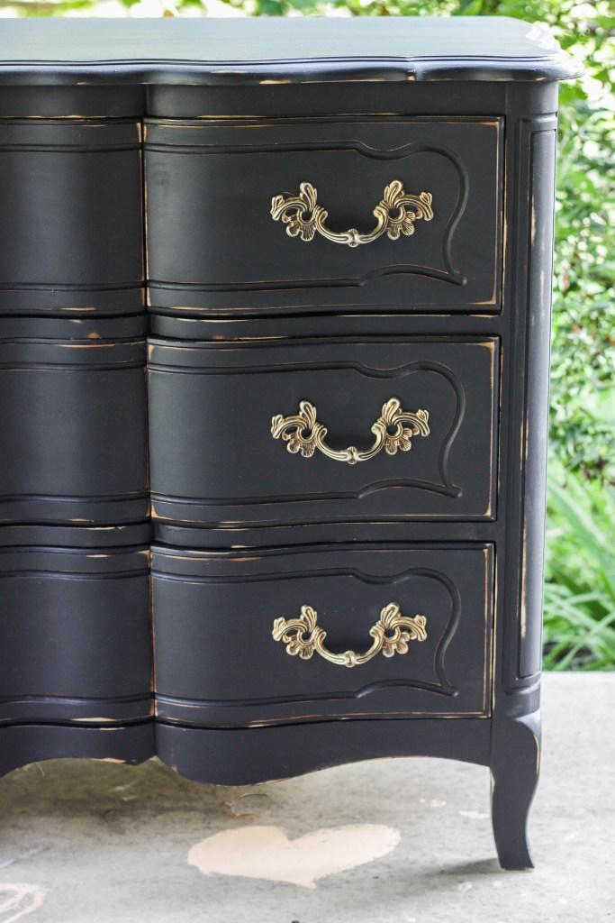 New Furniture Makeover: Glam Black French Triple Dresser - Cassie  KS09