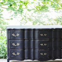 Furniture Makeover: Glam Black French Triple Dresser