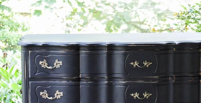 Furniture Makeover: Glam Black French Triple Dresser