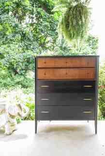 Furniture Makeover Black Wood Gold Midcentury Chest Cassie Bustamante