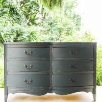 Furniture Makeover: Distressed Teal Vintage Double Dresser