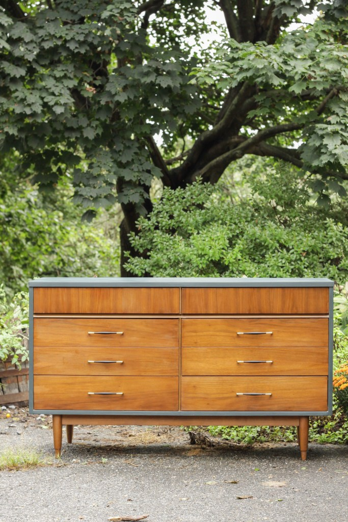 Teal & Wood Midcentury Dresser with Laminate Top Makeover