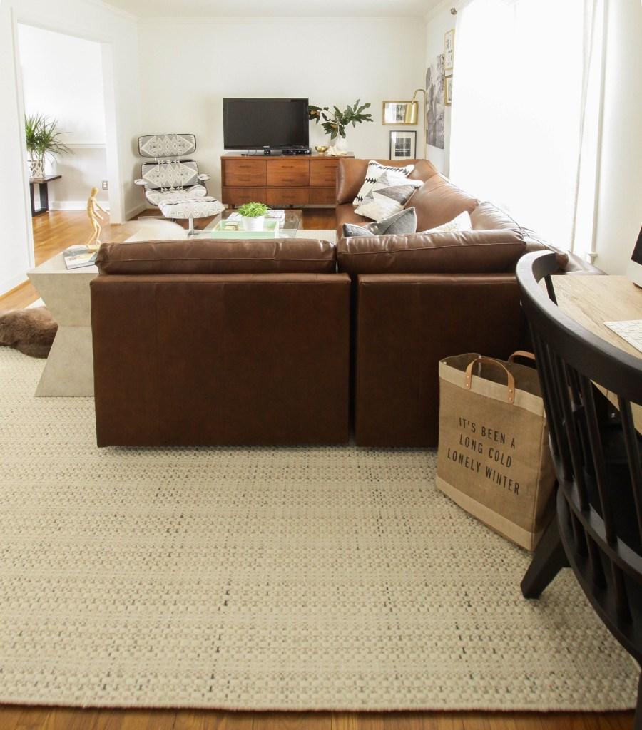 Neutral textured living room rug from Bassett furniture