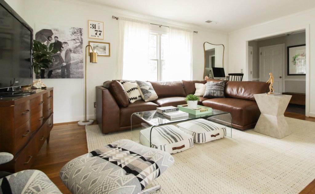 Bassett Furniture Modern Boho Living Room in Black, white, gray, brown, gold