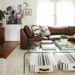 Bassett furniture modern leather sectional- neutral boho living room