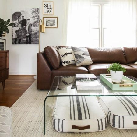 Bassett furniture modern leather sectional- neutral boho living room