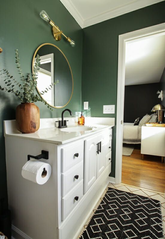 dark green modern boho bathroom