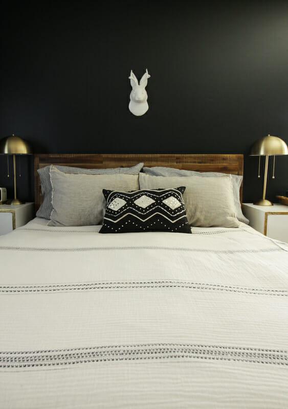Modern Boho Bedroom in Black and White