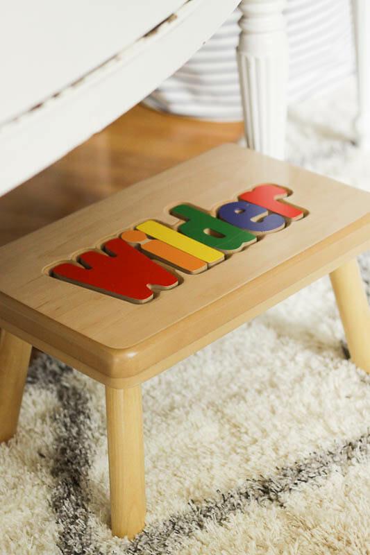 rainbow name puzzle stool