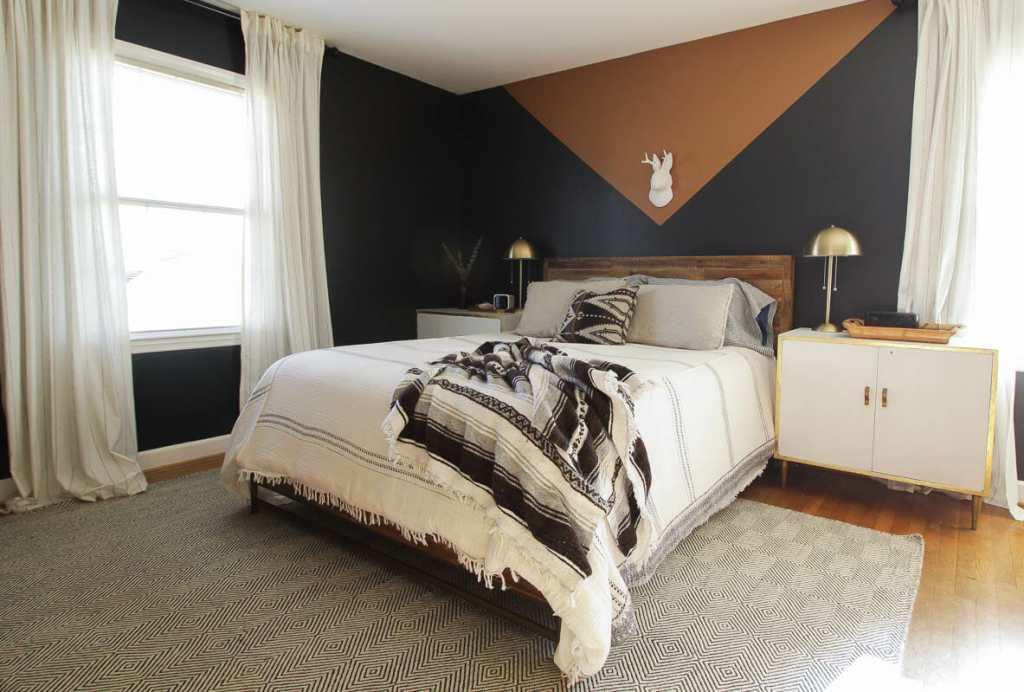 Color Block Walls in Bedroom