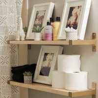 Ikea Hack Gold Shelf Brackets and Progress in the Hall Bathroom