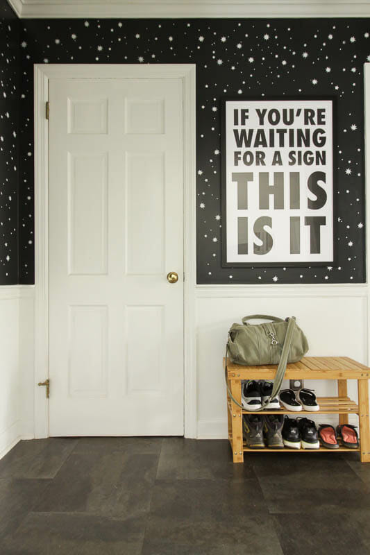 DIY Stenciled Wallpaper Wall